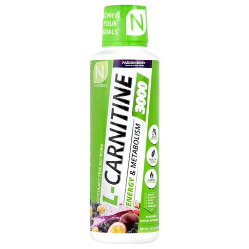 NutraKey L-Carnitine 3000 Liquid Fat Burner, (Passion Berry) 31 Servings by NutraKey
