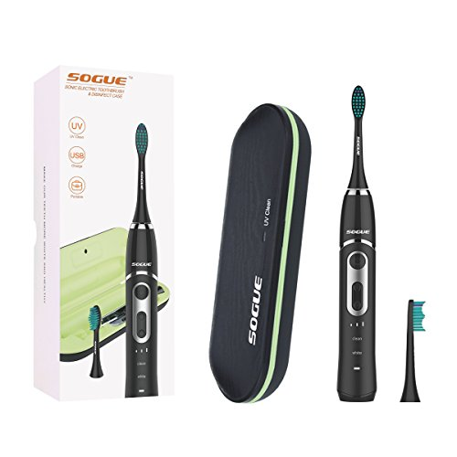 SOGUE Sonic Electric Toothbrush,Clean and White Modes, Smart Timing Toothburshes with UV Charging Travel Case,38000/Min Powerful sonic strokes Deep Clean Mode,IPX7 Waterproof for Shower(Black)