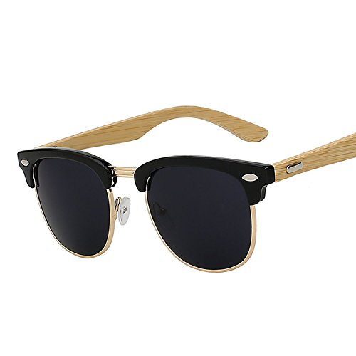 JapanX Wood Bamboo Sunglasses & Wooden Sunglasses for Men Women, Polarized Lenses & Gift Box – Wooden Vintage Wayfarer Sunglasses - Bamboo Wood Wooden Frame – New Style Sunglasses (A1 - Ranch Demolition Sunglasses Bamboo
