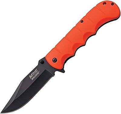 "M-Tech A895OR Small Portable Hidden Pocket Folding For Practical Use iCareYou Durable Knife A/O Black 3.75"" Blade Orange Rubber Handle Folder"