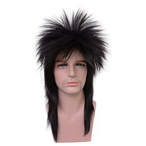 Yilys 80s Long Straight Black Wig Retro Themed Party Heavy Metal Mullet Rocker style wig -