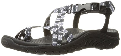 Skechers Womens Reggae Tie Dyed Toe Ring Sandal Black Tie Dye