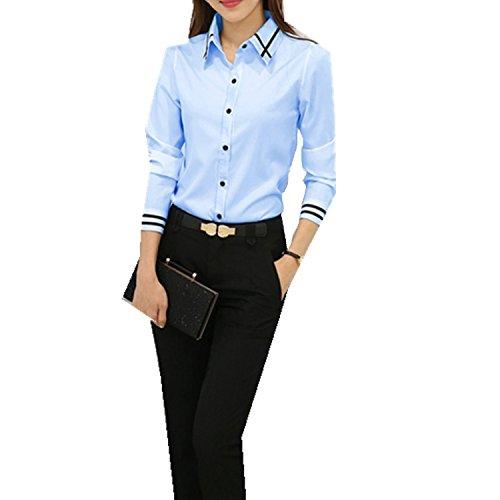 2ba88d84aa Taiduosheng Womens Basic Long Sleeve Slim Button Down Collared Shirts OL  Work Shirts M