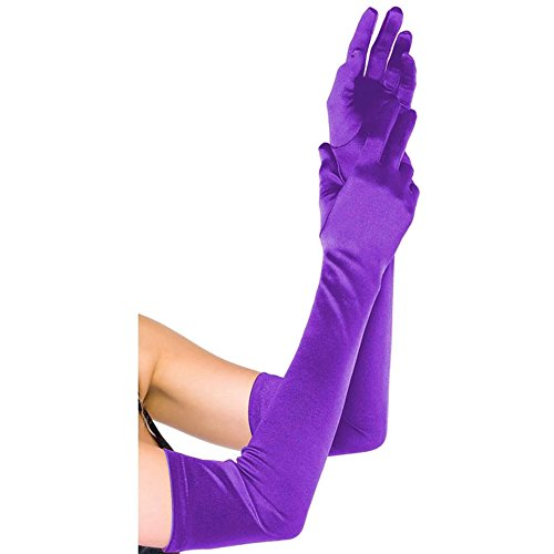 CHIC DIARY Long Satin Stretch Gloves Above Elbow Bridal Prom Wedding Formal Party Gloves (Purple Satin Gloves)