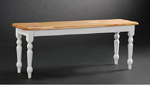Kitchen Bench in White & Natural Solid Wood. This Country Style Bench Adds Extra Seating Around Your Dining Table. The Colonial Appearance Is a Nice Furniture Piece for Your Foyer, Hallway, or Mudroom.