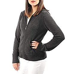 Gigi Reaume 100 Cashmere Hoodie Sweater Zip Front Cardigan With Pockets X Large Charcoal Grey
