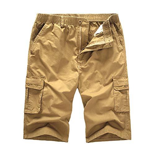 (POHOK Loose Shorts Men Men's Casual Outdoors Pocket Beach Work Trouser Cargo Pure Color Shorts Pants (4XL,Khaki))