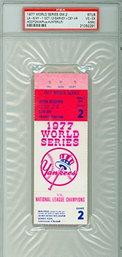 Yankee Game Ticket (1977 World Series Dodgers at Yankees - Game 2 Ticket Stub LA 6-1 HR Steve Garvey, Ron Cey [PSA grades VG/EX Marked due to score WRT on reverse] by Mickeys Cards)