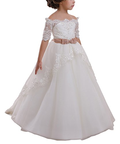 Elegant Flower Girl Lace Beading First Communion Dress 2-12 Years Old Ivory with Pink Bow Size 8]()