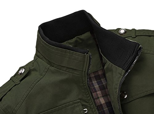 6e840cf18 Wantdo Men's Cotton Stand Collar Windbreaker Jacket US Medium Army Green