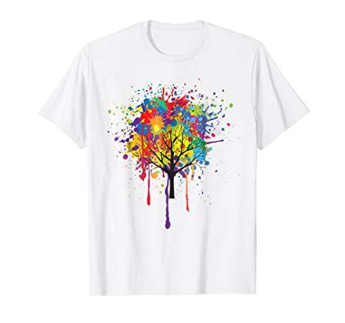 - Paint Drip Tree T-shirt, Paint Splash Art Tee by Zany Brainy