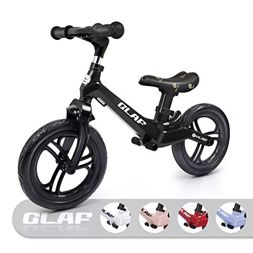 12 inches Kids Balance Bike No Pedal Bicycle Walking Bicycle Lightweight Balance Bike for Kids Toddlers Adjustable Handlebar and Seat Balance Bike Ages 17 Month-5 Years Old (Black) ()