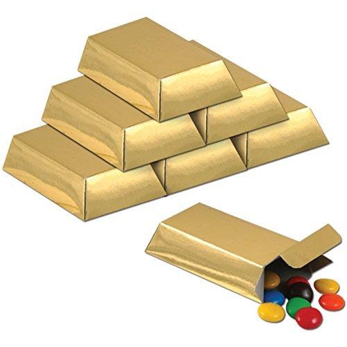 Foil Gold Bar Favor Boxes Party Accessory (1 Count) (12/pkg) Pkg/6