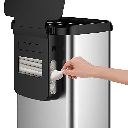 Glad Stainless Steel Trash Can with Clorox Odor Protection | Touchless Metal Kitchen Garbage Bin with Soft Close Lid and Waste Bag Roll Holder, 20 Gallon, Motion Sensor