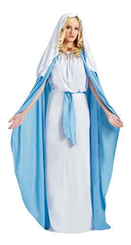 Biblical Virgin Mary Costume Women Adult Religious Christmas Halloween Bible -veil with hair comb (Mary Adult Womens Plus Size Costumes)