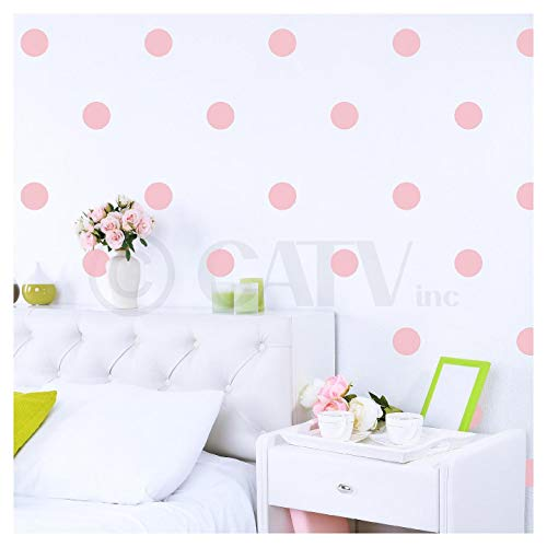 4x4 Set of 48 Polka Dot Circles vinyl lettering decal home decor wall art saying (Vintage -