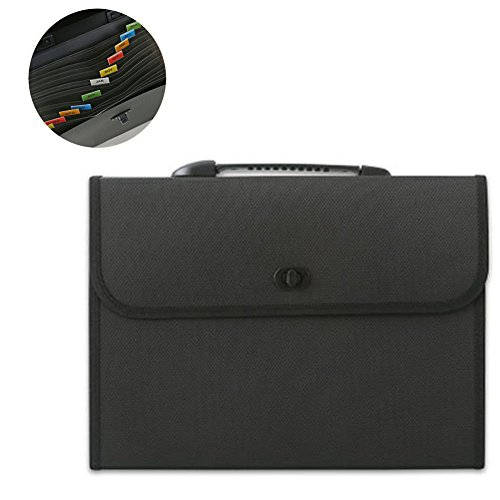 Expanding Poly Document Carrying Case - Little-Feet 13 Pockets Expanding File Folder Plastic A4 Letter Size Expandable File Organizer Self Document Accordion File Folder Wallet Briefcase Business Filing Box with Handle