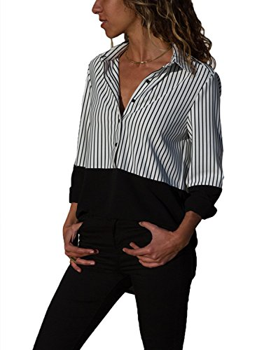 Sleeve Striped V-neck Top - Loose Blouses for Women Long Roll Sleeve Striped Patchwork V Neck Tops Button Down Charming Black Pinstripe Shirts XL