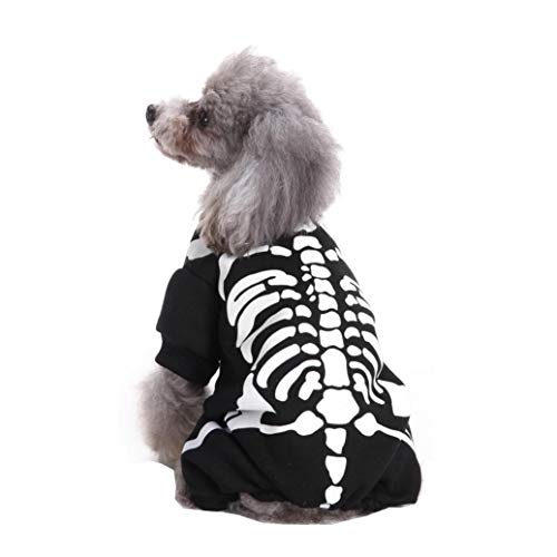Pet Halloween Costumes Dogs Skeleton Shirt Clothes Cosplay