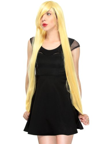 Mal Costume Party City (Simplicity Women Long Straight Cosplay Party Full Wigs Gold 40