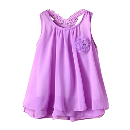 Honhui Newborn Toddler Baby Girls Sleeveless Solid Flower Butterfly Backless Casual Dress Clearance Sale (Purple, Age:(3~6months))