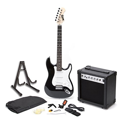 RockJam RJEGPKGUSA Full Size Electric Guitar SuperKit with 20 Watt Amp, Guitar Stand, Case, Tuner, and Accessories