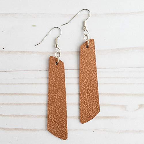 Willow Tan Leather Bar Earrings