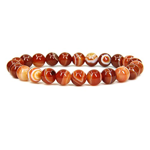 Amandastone Natural Red Dream Agate Gemstone 8mm Round Beads Stretch Bracelet 7
