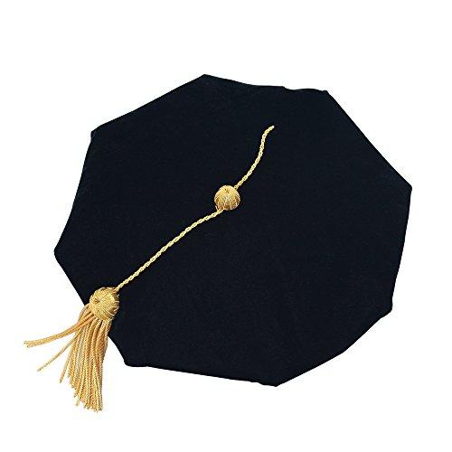 (GGS Doctoral Graduation Tam Black Velvet 8-Sided with Gold Bullion Tassel)