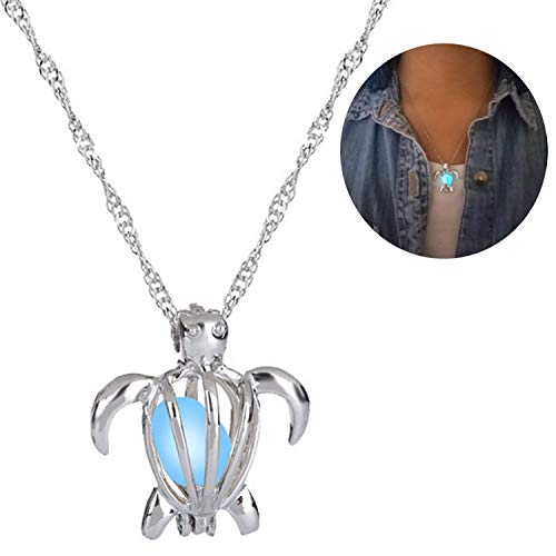 Glow in The Dark Necklace Steampunk Hollow Pendant with Chain for Women Turtle Blue-Green ()