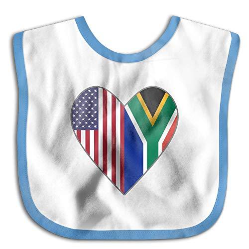 Heart Flag Bib - Half South African Flag USA Flag Love Heart Newborn Baby Boys Girls Cotton Saliva Towel Baby Bibs Waterproof Saliva Towel