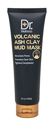 Dr. Wellness Volcanic Ash Clay Mud Mask, Deep Pore Clearing, Purifying + Facial Cleansing, 3.5 oz./ 100 g (Deep Mud Mask Volcanic Cleansing)