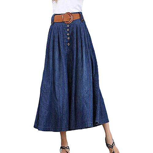 Longue t Jupe Avec Pliss Plus Jupes Bluewithbuttons Lady vas Cowboy Taille AINIMI La Jupe Ceinture Denim Taille Swing lastique Femmes 50TtxwqZ