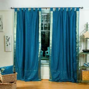 turquoise tab top sheer sari curtain drape 87866