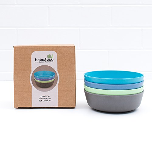 Bobo&Boo Bamboo Kids Bowls, Set of 4 Eco Friendly Toddler Bowls :: Non Toxic & Kid Safe Dishes for Cereal & Soup :: Mix and Match :: Great Gift for Baby Showers & Birthdays, Coastal (Baby Bobo)