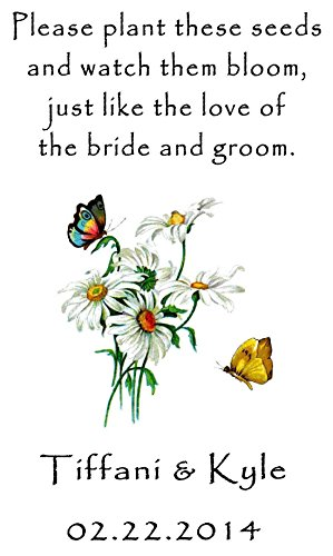 Personalized Wedding Favor Wildflower Seed Packets Butterflies Daisies Design 6 verses to choose from Set of ()