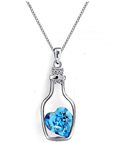 USMagic Crystal Jewelry Girls Jewelry Drift Bottle Austria Crystal Necklace - 1126 Bottles Of Love