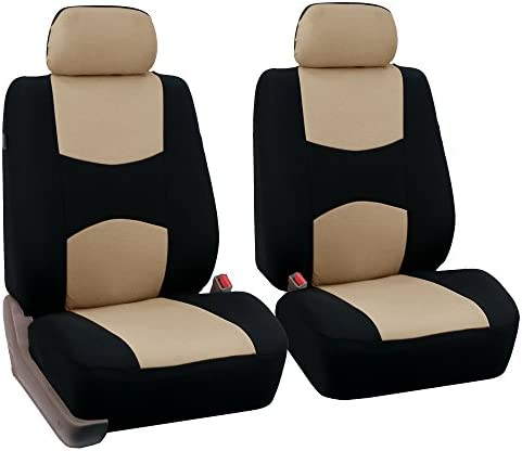 FH Group – FB050BEIGE102-A Universal Fit Flat Cloth Pair Bucket Seat Cover, (Beige/Black) (FH-FB050102, Fit Most Car, Truck, Suv, or Van)