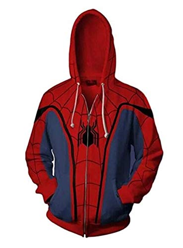 Unisex Superhero Halloween Cosplay Costume Cotton Fleece Hoodie Jacket with Zipper