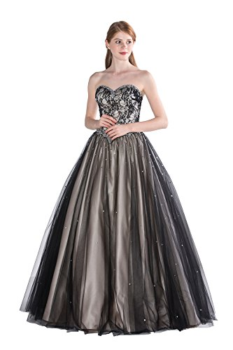 Classical Strapless Beading Lace Bodice Tulle Prom Ball Dress