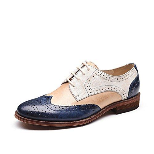 Honeystore Damens Brogue Carving Wingtip Echtes Leder Oxford Smoking Schuhe Lace-up Loafers Flats Einzelschuhe Rosa