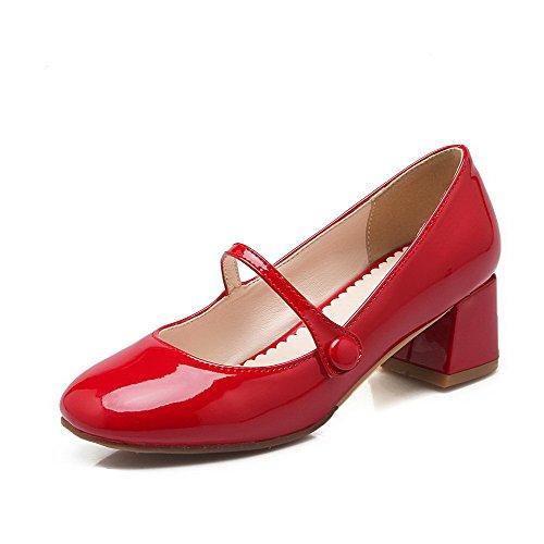 AllhqFashion Damen PU Leder Rein Schnalle Quadratisch Zehe Mittler Absatz Pumps Schuhe Rot