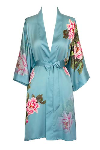 French Floral Robe - Old Shanghai Women's Kimono Robe Short - Watercolor Floral, Peony & Bird - Cameo Blue