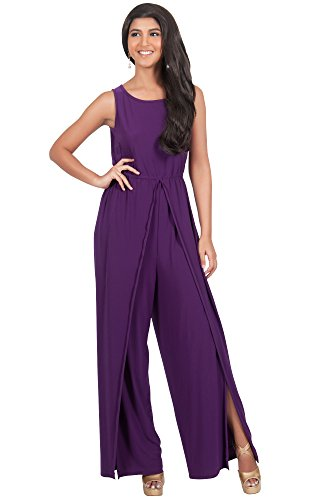 KOH KOH Plus Size Womens Sleeveless Flared Summer Round Neck Jumpsuit Casual Romper Cute Cut Keyhole Perfect Cocktail Formal Playsuit Overall, Color Purple, Size 2X Large XXL 18-20
