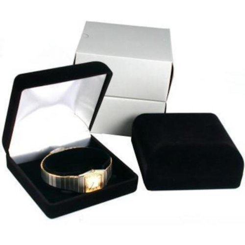 Velvet Bracelet Box (2 Black Flocked Watch & Bracelet Jewelry Gift Boxes)
