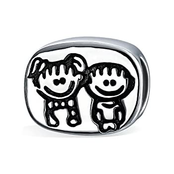 Amazon Siblings Brother And Sister Oval Charm Bead 925
