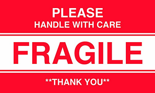 MACO - Please Handle With Care - Fragile  - Thank You - Label, 3 x 5 Inches, Red/White, 500 Labels/Roll, 1 Roll Each ()