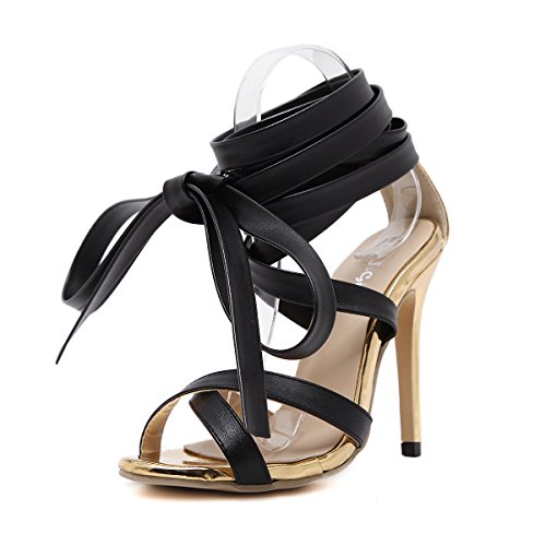 Women Heeled Sandals Ankle Strap Dress Sandals Stilettos Open Toe High Heel for Wedding Party Evening Shoes Gold