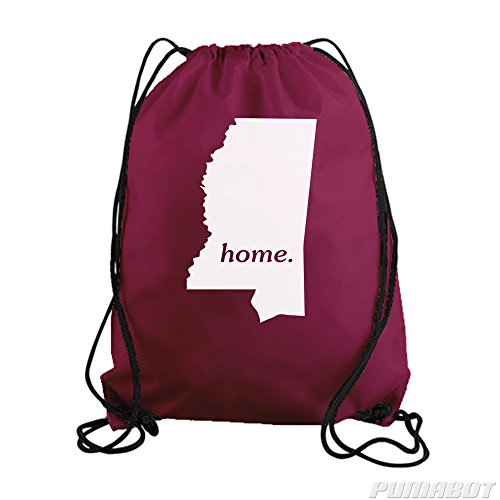 Maroon Mississippi Home State Drawstring Workout Gym Bag Backpack
