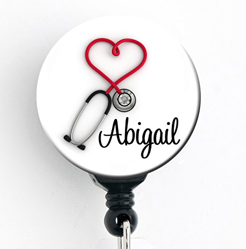 Retractable Badge Reel - Red Heart Steth - Personalized Name - Badge Holder
